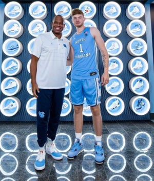 Four-star 2022 East Rockingham (Va.) small forward Tyler Nickel (right) officially visited UNC basketball last weekend. Nickel has set a decision date for Wednesday, Sept. 15, at 2:45 p.m., and national experts are predicting he'll choose the Tar Heels over fellow finalists Butler, Iowa, LSU and Virginia Tech (the only other school he's visited).