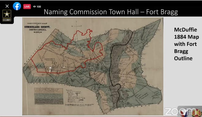 An 1884 map shown during a town meeting Tuesday, Sept. 14, 2021, shows a superimposed outline of the 165,000 acres Fort Bragg currently covers. The map was shown to show Fort Bragg's proximity to surrounding communities and the names of roads, landowners and millponds that existed before Camp Bragg was created in 1918.