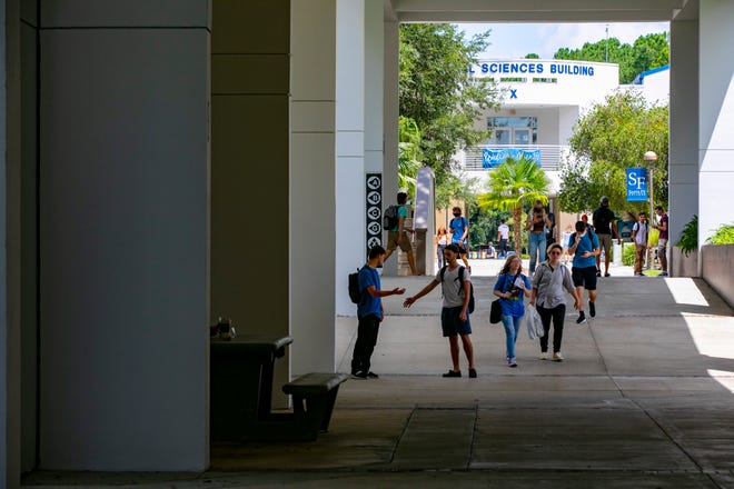 Santa Fe College students headed to class as fall semester began on Aug. 23.