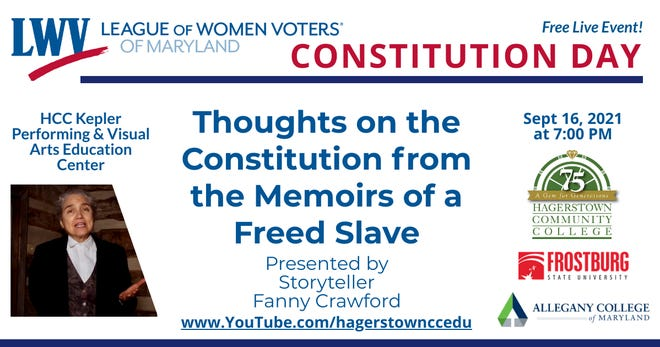 Fanny Crawford will appear at a Constitution Day event at Hagerstown Community College