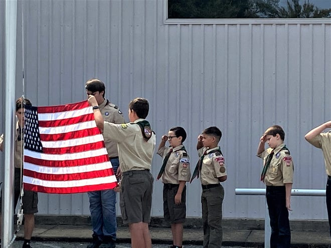 The Sherman Police Regional Pipe Ban performed, and Boy Scout Troop 44 raised the flag to half-mast.The library also put together a special display document the events of that day and honoring those who lost their lives.