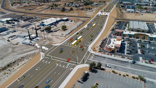 A rendering shows the widening of the Bear Valley Road overhead bridge and Ridgecrest Road intersection with an additional turn lane.