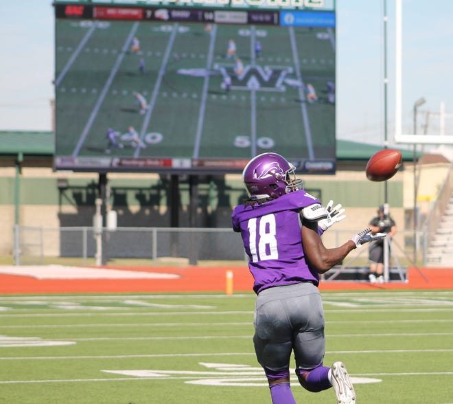 SAGU junior wide receiver Jamal Long hauls in a deep pass from Jordan Barlow during Saturday's college football game against Ottawa (Ariz.) at Lumpkins Stadium. The Lions fell to 1-1 on the year with a 42-28 loss.