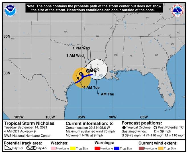 Tropical Storm Nicholas as of 4 a.m. Tuesday, Sept. 14.