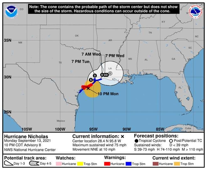 Hurricane Nicholas as of 10 p.m. Monday, Sept. 13.