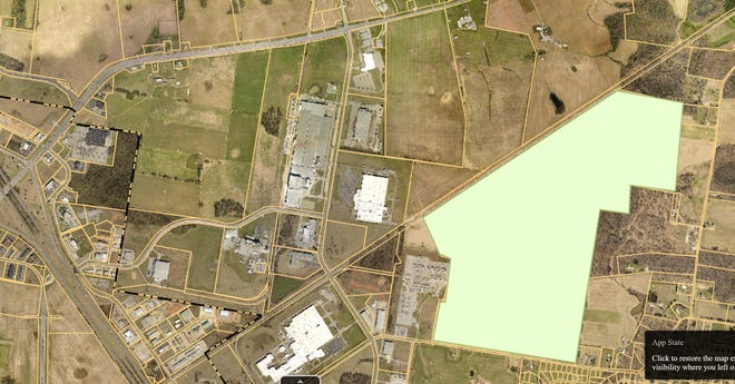 The Allensworth property denoted in this aerial view is shown just east of the existing Corporate Business Park.