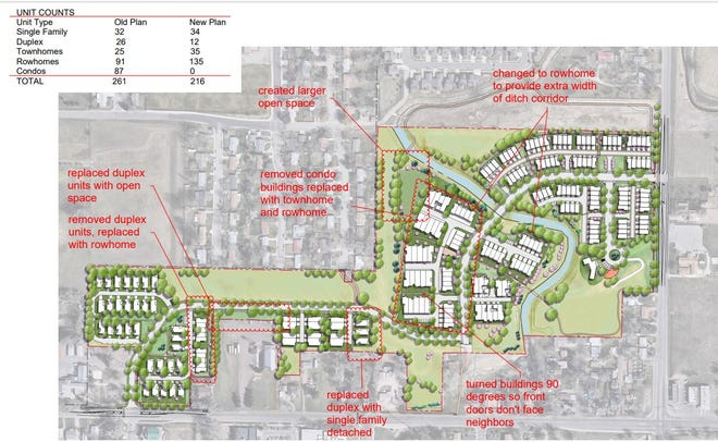 A preliminary site plan for the latest iteration of Sanctuary on the Green was presented to neighbors Monday, Sept. 14, 2021.