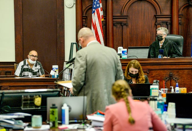 """Albert """"Chris"""" Ledeau, answers questions from Cascade County Attorney Josh Racki during the trial of James Michael Parker on Sept. 14. Parker is accused of deliberate homicide in the March 2018 death of Lloyd Geaudry during a street fight near Great Falls High School."""