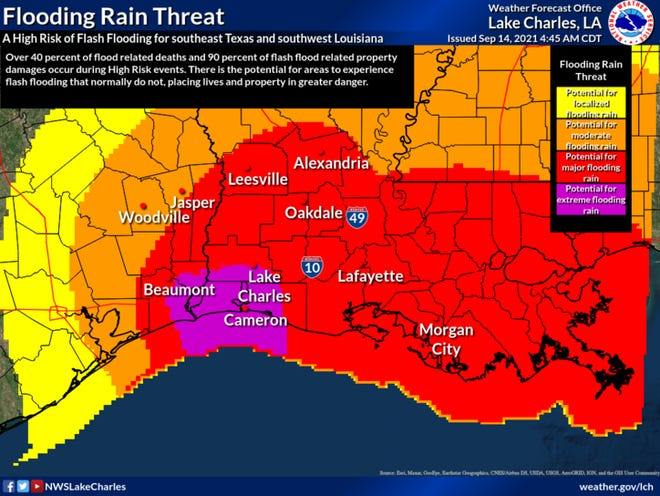 The potential for major flooding rain from Hurricane Nicholas threatens all of Acadiana this week as between 7 and 10 inches of rain are expected while the storm moves across the state.