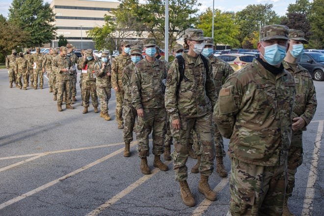 Members of the Kentucky National Guard arrive at Baptist Health to go through introductory training as they begin to help hospital staff with COVID-related assistance. Sept. 14, 2021
