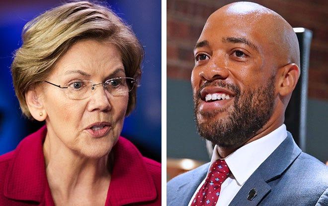 U.S. Sen. Elizabeth Warren, right, and Wisconsin Lt. Gov. Mandela Barnes, right.