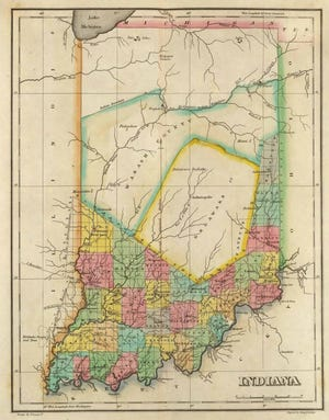 An 1822 map of Indiana, which shows the Delaware/Lenape territory in the middle of the state.