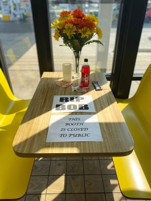 A table at the Shell convenience store in Daleville has been designated as a memorial for the late Robert Earl Huffman Jr. The Daleville man — slain at his home on Sept. 5 — routinely stopped by the store, where he visited with friends.