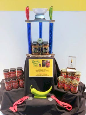 Trophy display for the award-winning salsa at the 2021 New Mexico State Fair.