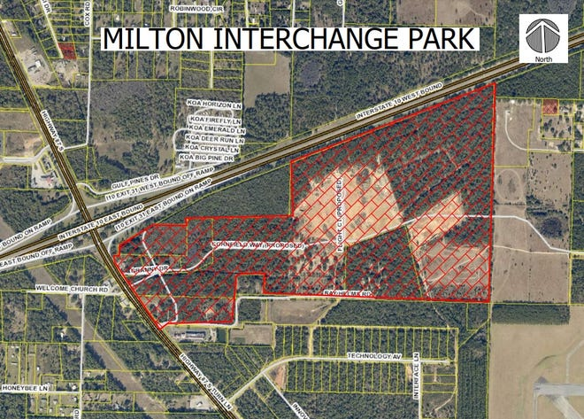 Aerial view of the future Milton Industrial Park site at Exit 31 on Interstate 10 in Santa Rosa County.