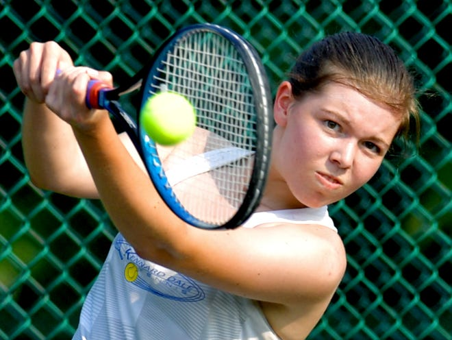 Kennard-Dale's Grace Maccarelli returns against Susquehannock's Alli Zapach in their second-seeded match during tennis action at Susquehannock Monday, Sept. 13, 2021. Bill Kalina photo