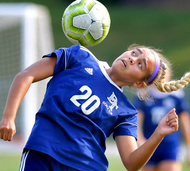 Dallastown's Annabelle Wunderlich gets a piece of the ball against Red Lion during soccer action at Dallastown Tuesday, Sept. 14, 2021. Dallastown outlasted Red Lion 1-0. Bill Kalina photo