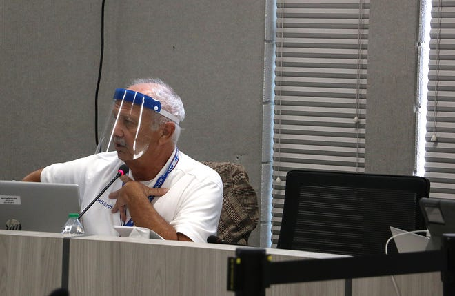 Trustee Jeff Church is seen speaking during the WCSD Board of Trustees meeting in Reno on Sept. 14, 2021.
