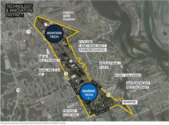 A map shows the proposed boundaries of an Innovation District in Martin County and the city of Stuart.