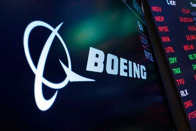 A Boeing logo appears at the New York Stock Exchange in July 2021. On Sept. 27, 2021 at about 11:31 a.m., many people in Springfield and other southwest Missouri communities heard a big boom. Greene County emergency management officials said it was due to Boeing aircraft testing.