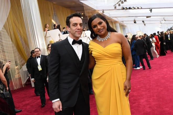 "B.J. Novak, left, and fellow ""Office"" veteran Mindy Kaling at the 2020 Oscars."