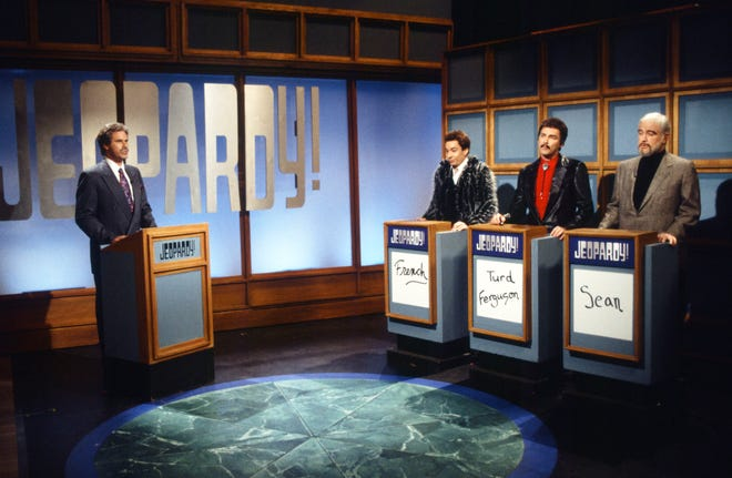 Will Ferrell as Alex Trebek, Jimmy Fallon as Stewart French, Norm MacDonald as Burt Reynolds, Darrell Hammond as Sean Connery during the 'Jeopardy!' skit on October 23, 1999