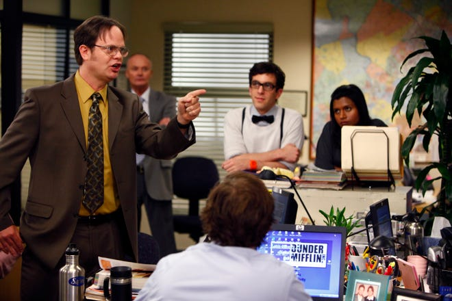 """Rainn Wilson, left, Creed Bratton, B.J. Novak and Mindy Kaling in a scene from """"The Office."""""""