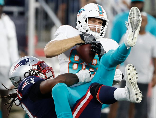 Dolphins tight end Mike Gesicki actually made this catch against the Patriots last Sunday - but the play was wiped out by a penalty.