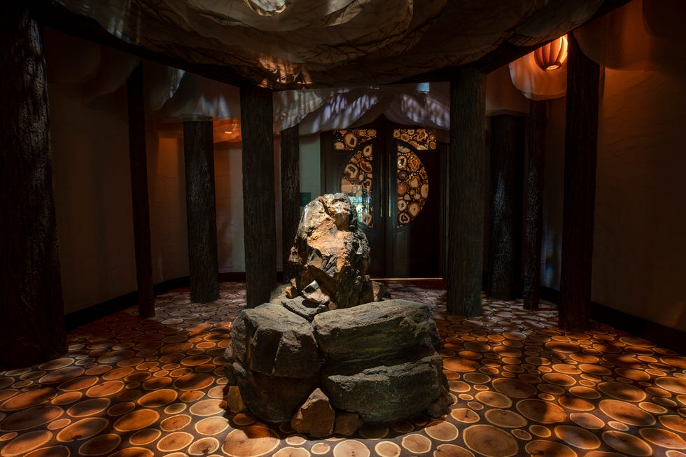 A Tenaya Stone, gifted by a Miwok elder descended of Chief Tenaya of the Yosemite Valley, is a focal point and place for guests to set their intentions at Disneyland Resort's Tenaya Stone Spa.