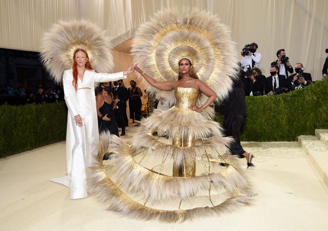 Harris Reed, left, and Iman attend the Met Gala on Sept. 13.