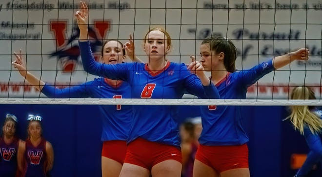 Westlake middle blocker Janie Hudson and her teammates swept Bowie in a District 26-6A volleyball match Sept. 14 at Westlake High School.
