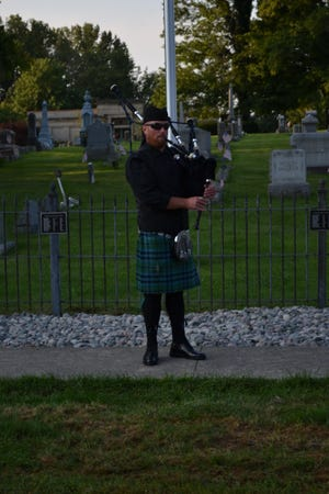 New London native Todd Conley, now an Ashland resident, came home to play the bagpipes for the flag ceremony that opened Salute to Services September 11 in New London.