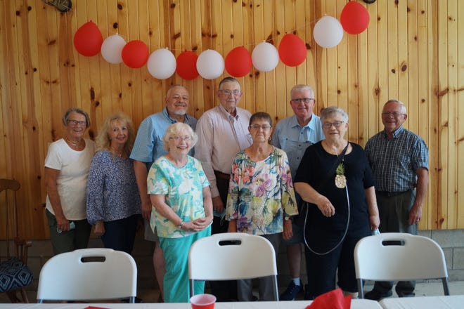Those who attended the Hayesville High School Class of 1961 reunion included, from left, front: Karen McCready, Karen Cameron and Carolyn Bachmann; Back: Linda Crossen, Marjorie Patterson, Floyd Koegler, Gene Yeater (former principal and teacher), Bill Glass and Don Draper.