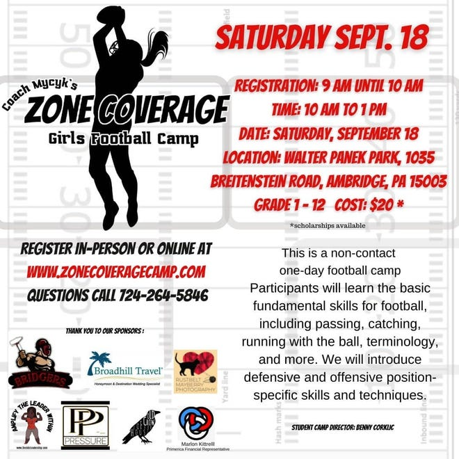 The flyer for Saturday's all-girls football camp, hosted by Ambridge's Felicia Mycyk.