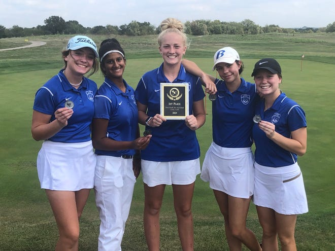 The Boonville Lady Pirates golf team captured first in the Marshall Invitational on Tuesday at Indians Foothills Golf Course.