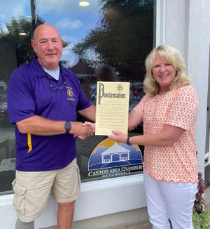 City of Canton Mayor, Kent McDowell, is pictured with Canton Area Chamber of Commerce Executive Director, Carla Bobell. Sept. 13 through 17 has been set aside specifically to honor Chamber of Commerces throughout the state.