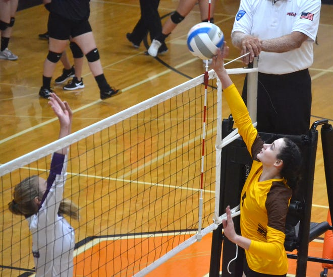Senior Grace Morse, right, and the Pellston volleyball team came back from two sets behind to stun Gaylord St. Mary in a Ski Valley road matchup on Tuesday.