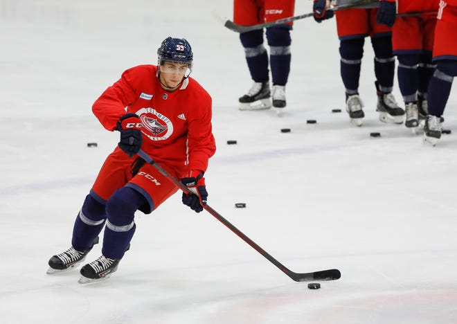 Forward Yegor Chinakhov (59) runs through drills during the Columbus Blue Jackets development camp at the OhioHealth Ice Haus in Columbus on Tuesday, Sept. 15, 2021.