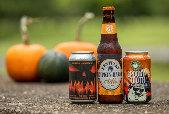 Fall pumpkin beers, from left, Millersburg Brewing Pope's Imperial Pumpkin Ale, Kentucky Pumpkin Barrel Ale, Fat Head's Spooky Tooth