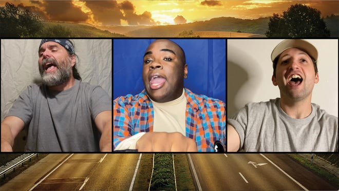 """Carmine Grisolia, Je'Shaun Jackson and Cory Velazco sing """"Brother Trucker"""" in CATCO's  online  production of """"Working: A Musical."""""""