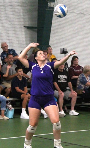 Bronson's Kaylee Withington serves up an ace in early season action. The Vikings rolled on Concord for a Big 8 win Tuesday
