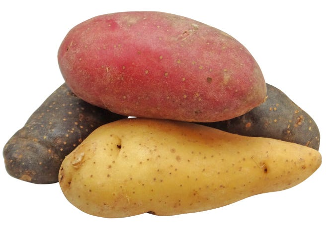 Potatoes are a good source of complex carbohydrates, vitamin C and fiber.