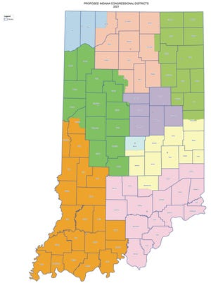 The congressional districts being proposed by House Republicans for Indiana starting in 2021.