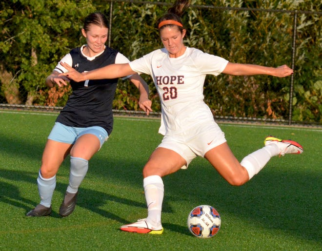 Hope College's Madison Holloway shoots against Elmhurst on Tuesday at Van Andel Soccer Stadium.