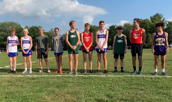 West Henderson's boys won the team title Tuesday at the Henderson County championship meet at Jackson Park. Pictured here from left to right are the all-county performers: Keagan Saft, Hudson Rice, Rocoe Greene, Holden Hamlin, James Biggers, Turner Knox, Mason Pittman, Brett LaRue, Wilson Mayo and Seth Eden.