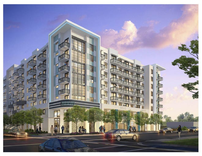 Located between 2nd and 3rd Streets along Rosemary Avenue, The Grand will be an eight-story building that will offer 301 one and two-bedroom apartments and nine three-bedroom townhomes with ground floor commercial space.