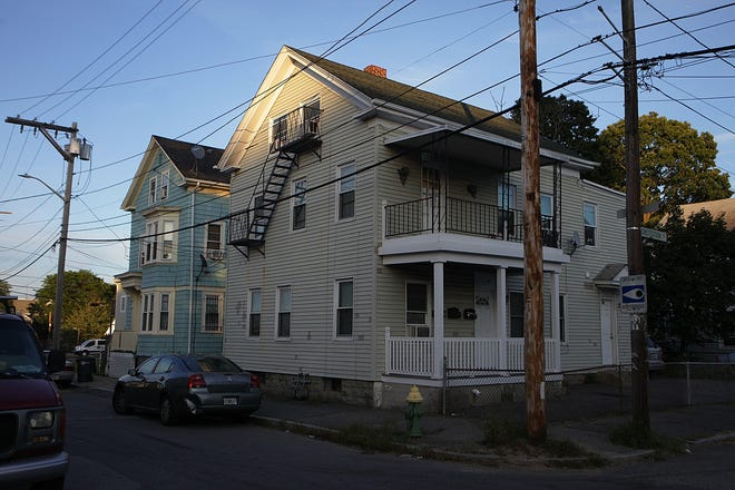 Baby Tobi's home for the first three months of his life was a second-floor apartment in the house at right-center, 49 Constitution St., in Providence.