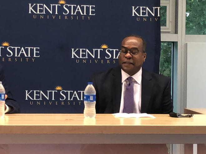 Kevin Martin, president and chief operating officer of Ideastream, discusses the merger of WKSU and Ideastream's radio operations in a joint news conference with Kent State University and WKSU.