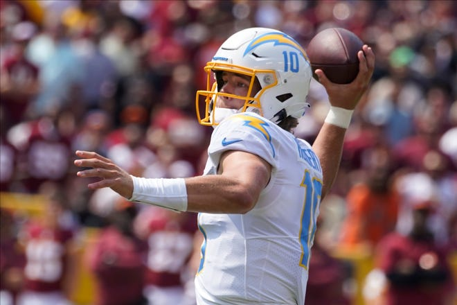 Los Angeles Chargers quarterback Justin Herbert had 337 passing yards in Sunday's 20-16 win over the Washington football team.
