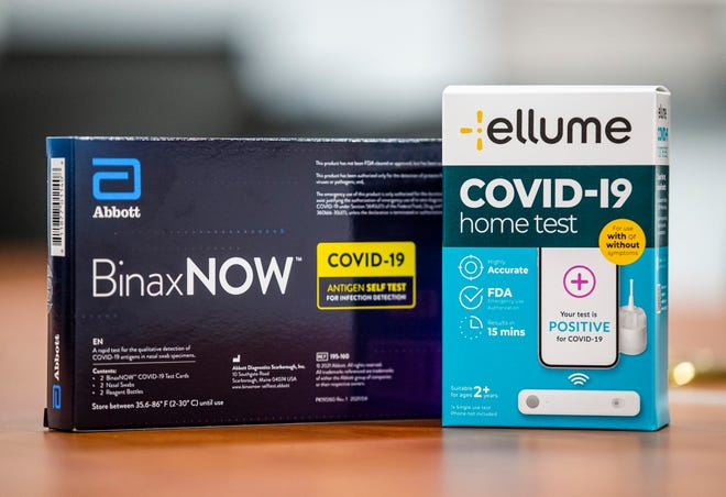 Two brands of at-home COVID-19 tests sold locally in South Bend.